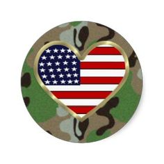 Military Love Round Stickers
