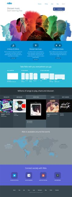 What I like: rdio is a service similar to Spotify, visit the website to get a better idea. But anyway, this is an example if minimalist design using bright colours to highlight sections and functionality. This kind of design will hold its place over time.  What I don't like: Not much really... It is functional design. The graphics up the top are awesome too.