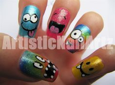 crazy nail art | Crazy & Colourful smileys! - Nail Art Gallery