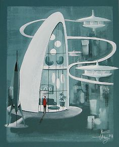 EL GATO GOMEZ PAINTING MID CENTURY MODERN FUTURISTIC ARCHITECTURE 60S SPACE SHIP #Abstract