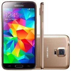 (Ricardoeletro.com) Celular Smartphone Samsung Galaxy S5 Duos G900M Dourado - Dual Chip, 4G, Tela 5.1, Câmera 16MP+Frontal, Quad Core…