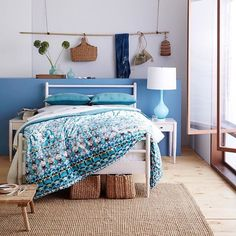 Love this beautiful blue, white bedroom from West Elm.
