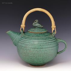 Teapot 14 with Duck Finial and Reed Handle: Ron Mello: Ceramic Teapot - Artful Home