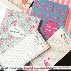 Magnetic List Pads for never ending lists, note books #magneticlist pads #listpad #flamingo #flowerswithpoladots #flowers #polkadots #pink #blue #personalised#stationery #personalisedstationery #cupikdesign #india#school #onlinestationery