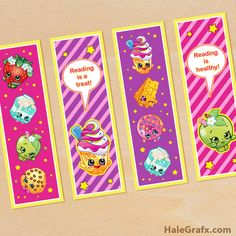 FREE printable Shopkins bookmarks
