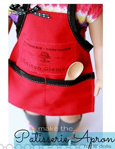 Sew an apron for your American Girl doll!  Sewing pattern and tutorial to make the Patisserie Apron for 18 inch dolls.  Celebrating Grace Thomas, GOTY 2015!