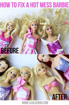"""How to fix a hot mess Barbie... I don't have a little girl, but I think this is good to know. Let you're daughter help and make it a fun """"spa day"""" for the dolls."""