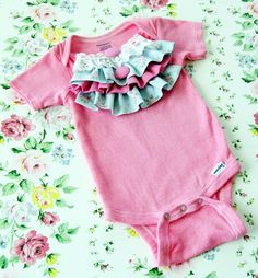 hand dyed onesie embellished with ruffles and lace