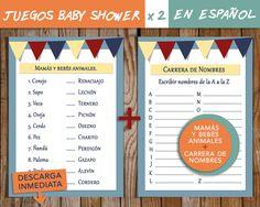 Juegos en ESPAÑOL x 2! / Para Baby Shower:  Mamás y bebés animales + Carrera de nombres --> Baby shower game in spanish de NuevosVientosDesigns en Etsy