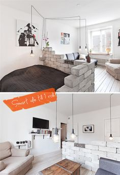 The stacked brick half-wall and the single light fixture arranged over multiple areas Home Interior, Interior Design Living Room, Interior Livingroom, Small Living, Living Spaces, Room Deviders, Apartment Decorating On A Budget, Tiny Apartments, One Bedroom Apartment
