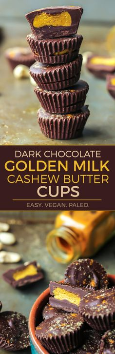 GOLDEN MILK CASHEW BUTTER CUPS. You must try these gems. Paleo and vegan-friendly, these cashew butter cups are a quick and healthy dark chocolate treat! (Healthy Dessert Recipes)