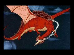 1977 The Hobbit-Smaug-Rankin-Bass. 'My armour is like tenfold shields, my teeth are swords, my claws spears, the shock of my tail a thunderbolt, my wings a hurricane, and my breath death!'