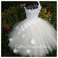 flower tutu dress flower girl tutu dress by CaitlinsTutusandBows