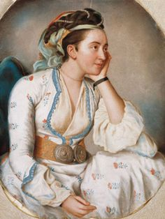 18th Century portrait of a woman in Turkish clothing by Jean-Étienne Liotard