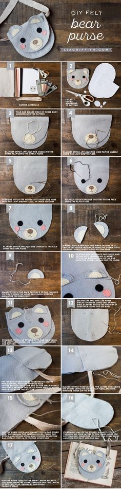 Here's a perfect sewing activity to sit down and do with your kids. Create a play felt bag animal friend for them to wear around the house and to school. Click through to get Lia Griffith's DIY sewing tutorial for this bear felt bag. #diy_kids_bag