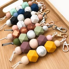 MINI Silicone Key Chain / Nappy Bag Charm – Hobbies paining body for kids and adult Nursing Necklace, Teething Necklace, Clay Beads, Polymer Clay Jewelry, Diy Keychain, Party Bags, Wooden Beads, Bead Crafts, Creations