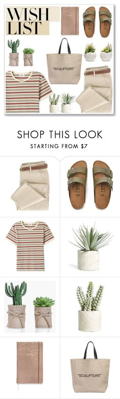 """""""Style #19"""" by kavinky ❤ liked on Polyvore featuring Birkenstock, Melrose International, Allstate Floral, Kate Spade, Off-White, contestentry and polyPresents"""