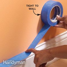 Using Masking Tape When Painting, press down and seal dragging puty night along tape