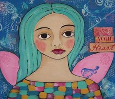 Angel Saint Original  Folk Art Painting Whimsical by DEBIDOODAH, $65.00