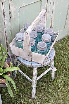 Vintage shabby chic / blue mason jars with zinc lids Vintage Mason Jars, Blue Mason Jars, Vintage Bottles, Pot Mason, Mason Jar Crafts, Bottles And Jars, Glass Bottles, Shabby Style, Shabby Chic
