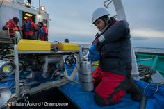 26 Feb, 2016 Greenpeace radiation specialist Jacob Namminga from the Netherlands, mounting the container with a gamma ray spectrometer on a ROV to be able to measure radiation at the seabed. The process is being done onboard Asakaze, a Japanese research vessel chartered by Greenpeace Japan, conducting radiation survey work offshore of Fukushima Prefecture doing seabed survey and sampling of marine sediment.