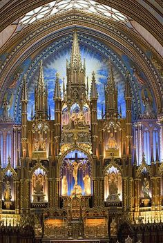 The inside of the beautiful Notre Dame Catholic Church located in Montreal, Canada.  Enjoy!