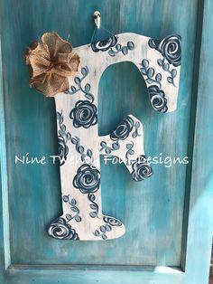 Wooden Door Signs, Front Door Signs, Wooden Doors, Painted Letters, Painted Doors, Hand Painted, Letter Door Hangers, Pretty Letters, Floral Letters
