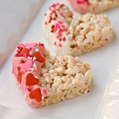 Dipped Heart Rice Krispies Treats. There are those adorable heart sprinkles. I am truly obsessed with them:)