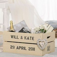 Just Married - Apple Crate Planter