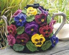 Crochet Tea Cosy of Pansies