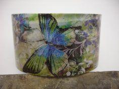 Butterfly decoupage cuff bracelet