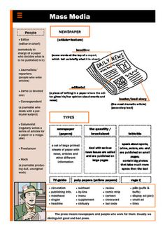 Vocabulary handout with words, expressions related to newspapers in general. Especially useful for people who need a good visual layout to remember information in the bet way.
