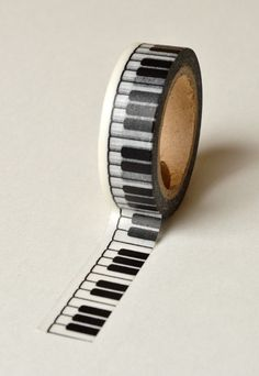 Washi Tape - 15mm - Black Piano Keys on White Pattern - Deco Paper Tape No. 783 by InTheClear on Etsy