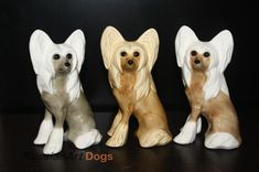 Chinese crested dog figurine ceramics handmade,  statuette porcelain by RussianArtDogs on Etsy