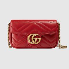 GG Marmont matelassé leather super mini bag by: Gucci Gucci Purses, Red Purses, Gucci Handbags, Luxury Handbags, Gucci Bags, Designer Handbags, Gucci Clutch, Mini Handbags, Handbags Online
