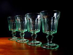 Hey, I found this really awesome Etsy listing at https://www.etsy.com/listing/226747093/vintage-green-glass-goblets-by-bormioli
