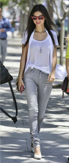 Victoria Justice sports casual chic style in Beverly Hills