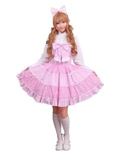 Cotton Pink Checked Bandeau Bow Sweet Lolita « Store Break