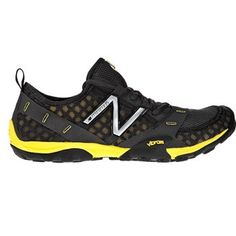 Minimus Trail T10 Black / Yellow - Mens  An entirely different approach to trail running, the New Balance Minimus 10 Trail takes the versatile durability of a Vibram outsole and combines it with a fitted, minimalist upper for a lightweight barefoot experience.