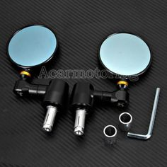 Pair CNC Round Black Motorcycle 7/8''Bar End Rearview Side Blue Glass Mirrors