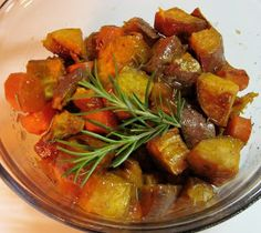 This Roasted Sweet Potato & Carrot with Rosemary & Peach Marmalade will satisfy your sweet tooth without weighing you down like a traditional sweet potato casserole. Recipe: http://carolinasaucecompany.blogspot.com/2012/04/roasted-sweet-potato-carrot-with.html