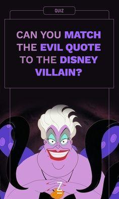 Take this quiz, you poor unfortunate souls. Disney Pixar, Disney Quiz, Disney Games, Disney Trivia, Princess Quizzes, Disney Princess Facts, Villains Party, Evil Villains, Disney Villains Quotes