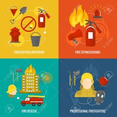 Firefighting icons  inventory extinguishing fire rescue professional composition isolated vector illustration Stock Vector - 29453345