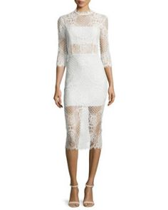 Miller+3/4-Sleeve+Lace+Midi+Dress,+Ivory+by+Alexis+at+Neiman+Marcus.