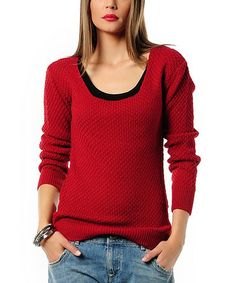 Another great find on #zulily! Burgundy Textured Knit Sweater #zulilyfinds