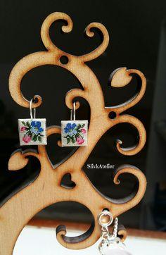 Embroidered silver earrings, Square earrings, Embroidered earrings, Floral earrings, Anniversary gift for girlfriend, Petit point earrings by SlivkAtelier on Etsy