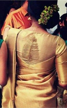 Silk Saree Blouse Designs - Patch Work Blouse Design For Tussar Silk Saree Blaws design Latest Saree Blouse, Latest Silk Sarees, Pattu Saree Blouse Designs, Saree Blouse Patterns, Designer Blouse Patterns, Patch Work Blouse Designs, Fancy Blouse Designs, Blouse Neck Designs, Golden Blouse Designs