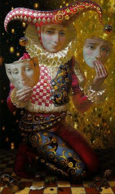 Victor Nizovtsev Jester or Fool Art And Illustration, Fantasy Kunst, Fantasy Art, Victor Nizovtsev, Pierrot Clown, Court Jester, Send In The Clowns, Inspiration Art, Russian Art