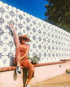 Backyard Stencils: Cheapest DIY Renovation Ideas with Floor Stencils – Royal Design Studio Stencils Fence Art, Diy Fence, Backyard Fences, Backyard Landscaping, Fence Ideas, Garden Fence Paint, Landscaping Ideas, Large Stencils, Paint Stencils