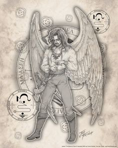 Archangel Jophiel; The Beauty of God. Patron angel of artists and prince of inspiration and illumination. Also stands behind Michael, along with Zadkiel, as the General goes into battle. Reveals corruption and frees the oppressed.